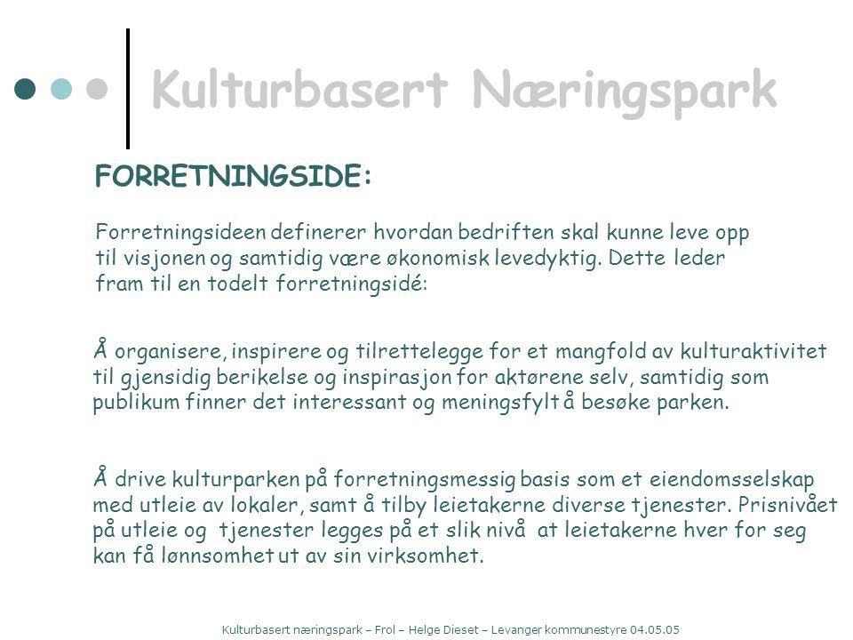 Kulturbasert næringspark – Frol – Helge Dieset – Levanger kommunestyre 04.05.05 Kulturbasert Næringspark FORRETNINGSIDE: Forretningsideen definerer hvordan bedriften skal kunne leve opp til visjonen og samtidig være økonomisk levedyktig.