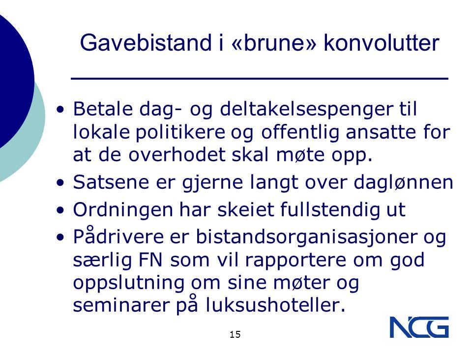 Gavebistand i «brune» konvolutter Betale dag- og deltakelsespenger til lokale politikere og offentlig ansatte for at de overhodet skal møte opp.