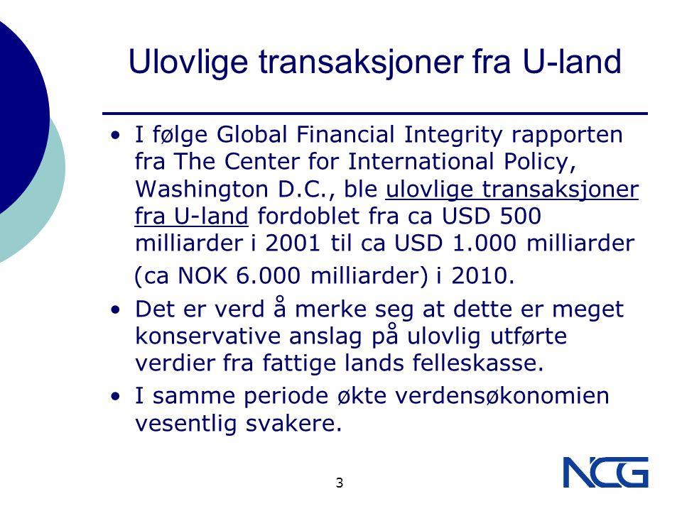 Ulovlige transaksjoner fra U-land Kinesere stod for ca halvparten totalen.
