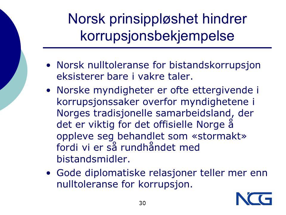 Norsk prinsippløshet hindrer korrupsjonsbekjempelse Norsk nulltoleranse for bistandskorrupsjon eksisterer bare i vakre taler.