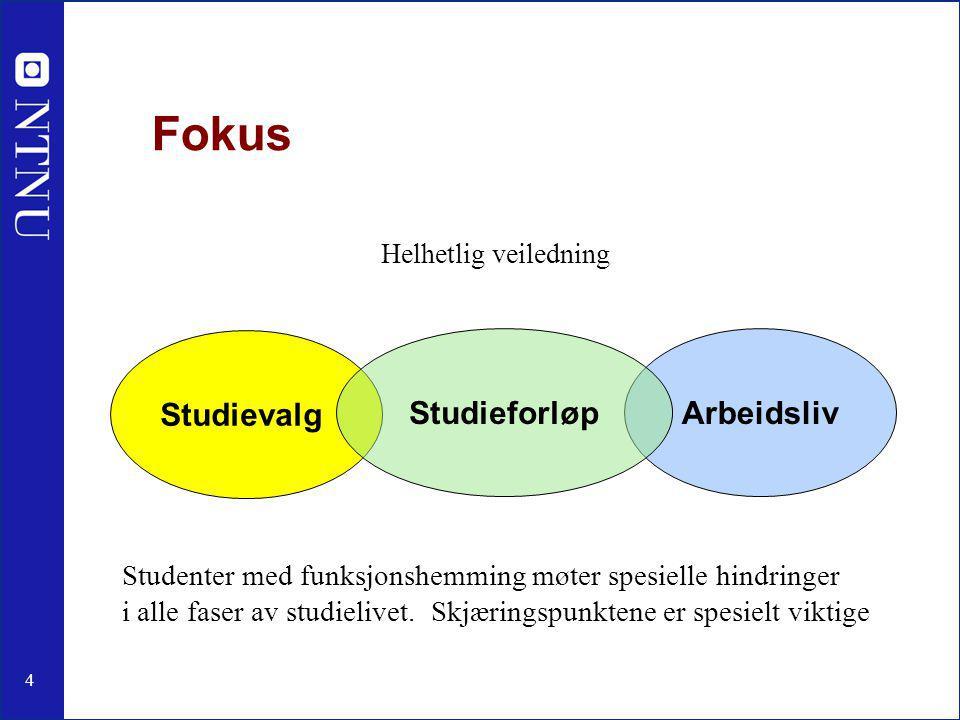 4 Fokus Helhetlig veiledning Studievalg ArbeidslivStudieforløp Studenter med funksjonshemming møter spesielle hindringer i alle faser av studielivet.