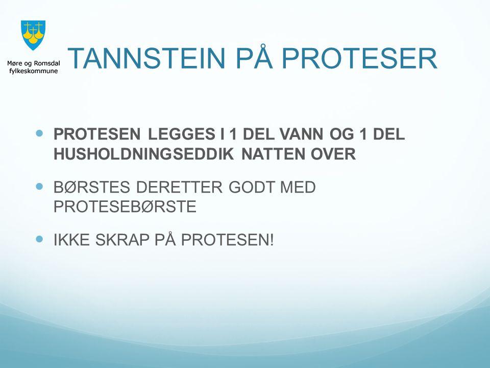 PROTESEN LEGGES I 1 DEL VANN OG 1 DEL HUSHOLDNINGSEDDIK NATTEN OVER BØRSTES DERETTER GODT MED PROTESEBØRSTE IKKE SKRAP PÅ PROTESEN!
