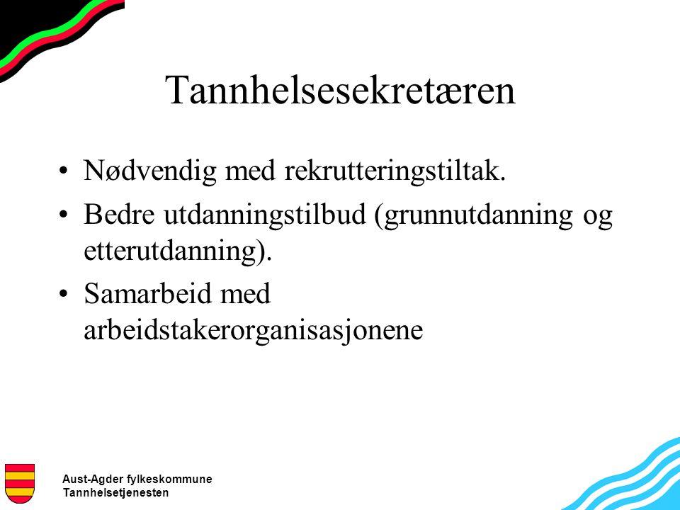 Aust-Agder fylkeskommune Tannhelsetjenesten Tannhelsesekretæren Nødvendig med rekrutteringstiltak.