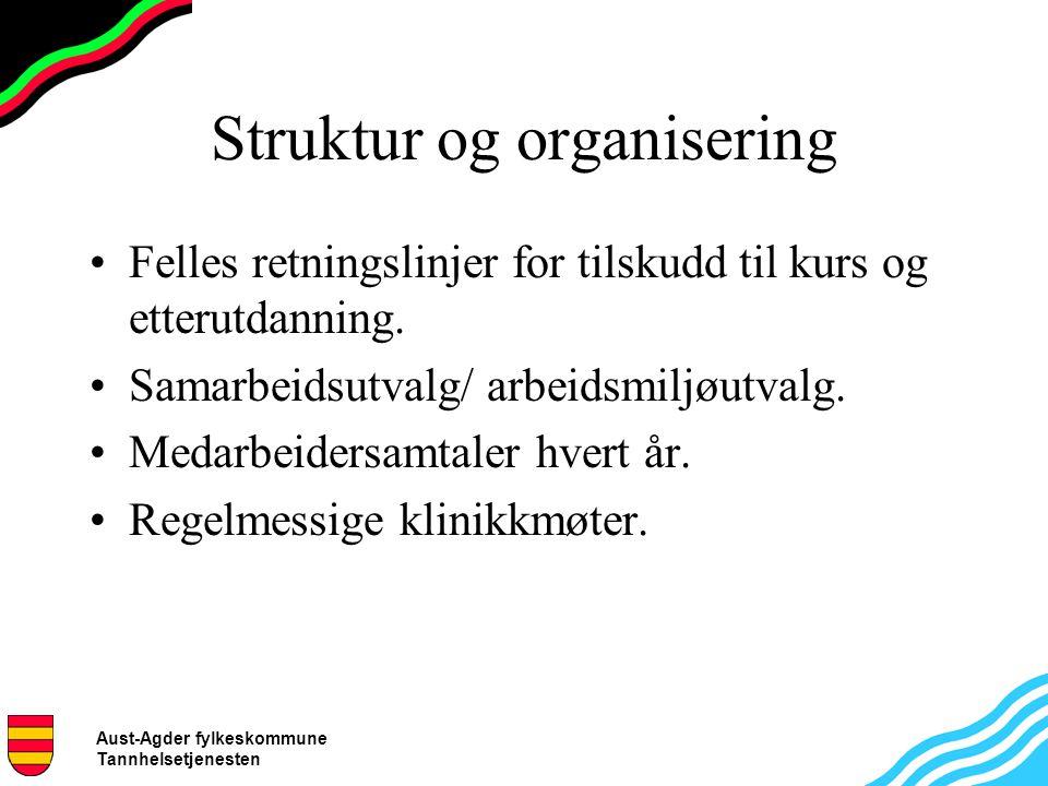 Aust-Agder fylkeskommune Tannhelsetjenesten Struktur og organisering Felles retningslinjer for tilskudd til kurs og etterutdanning.