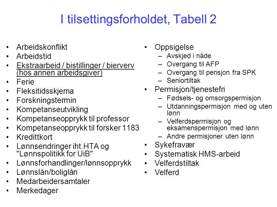 I tilsettingsforholdet, Tabell 2 Arbeidskonflikt Arbeidstid Ekstraarbeid / bistillinger / bierverv (hos annen arbeidsgiver) Ferie Fleksitidsskjema For