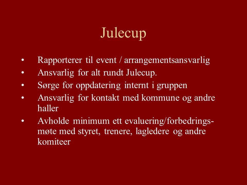 Julecup Rapporterer til event / arrangementsansvarlig Ansvarlig for alt rundt Julecup.