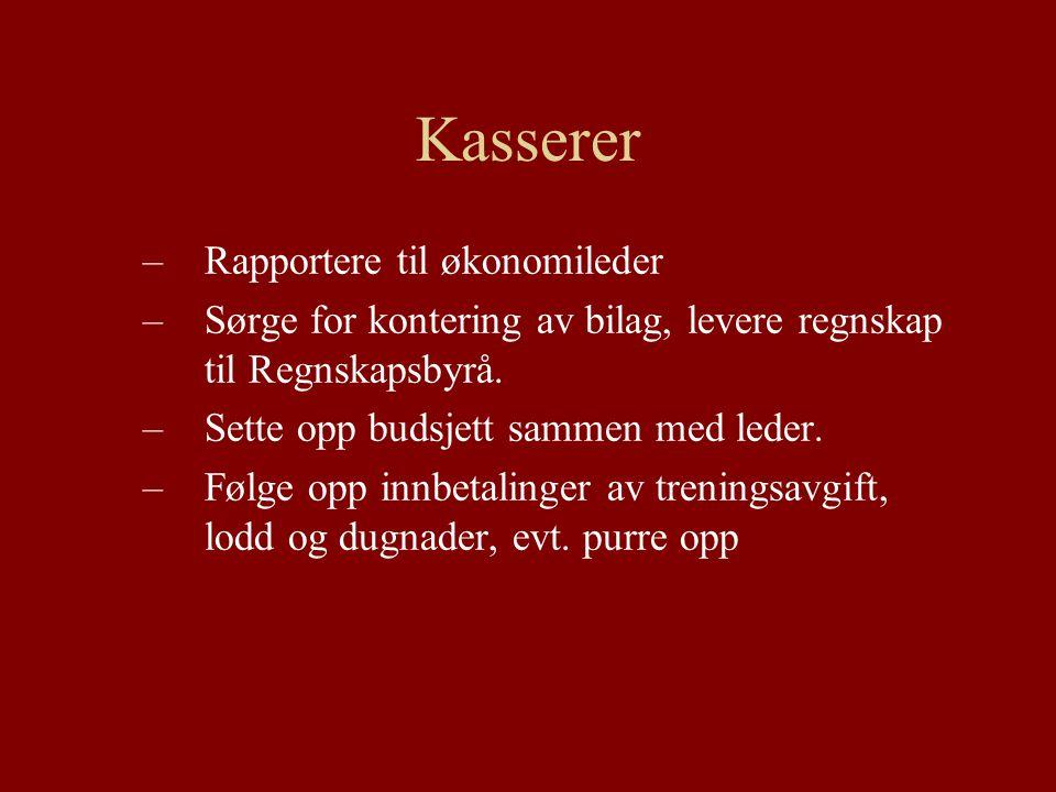 Kasserer –Rapportere til økonomileder –Sørge for kontering av bilag, levere regnskap til Regnskapsbyrå.