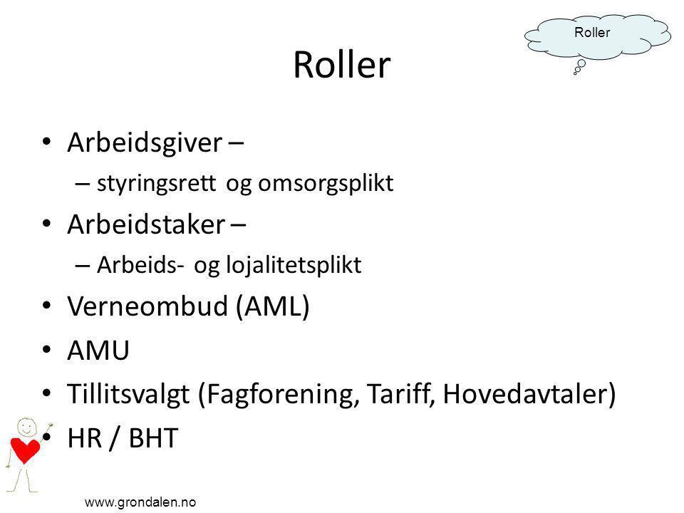 www.grondalen.no Roller Arbeidsgiver – – styringsrett og omsorgsplikt Arbeidstaker – – Arbeids- og lojalitetsplikt Verneombud (AML) AMU Tillitsvalgt (