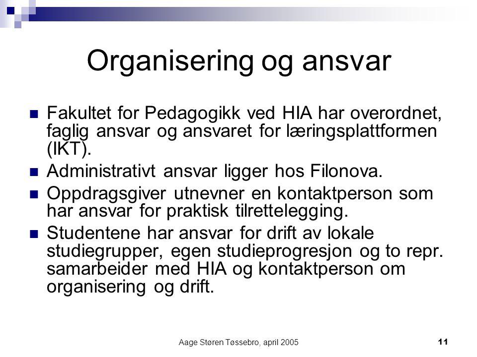 Aage Støren Tøssebro, april 200511 Organisering og ansvar Fakultet for Pedagogikk ved HIA har overordnet, faglig ansvar og ansvaret for læringsplattformen (IKT).