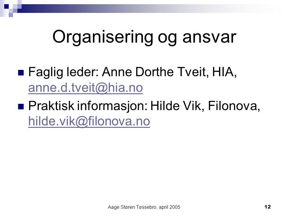 Aage Støren Tøssebro, april 200512 Organisering og ansvar Faglig leder: Anne Dorthe Tveit, HIA, anne.d.tveit@hia.no anne.d.tveit@hia.no Praktisk informasjon: Hilde Vik, Filonova, hilde.vik@filonova.no hilde.vik@filonova.no