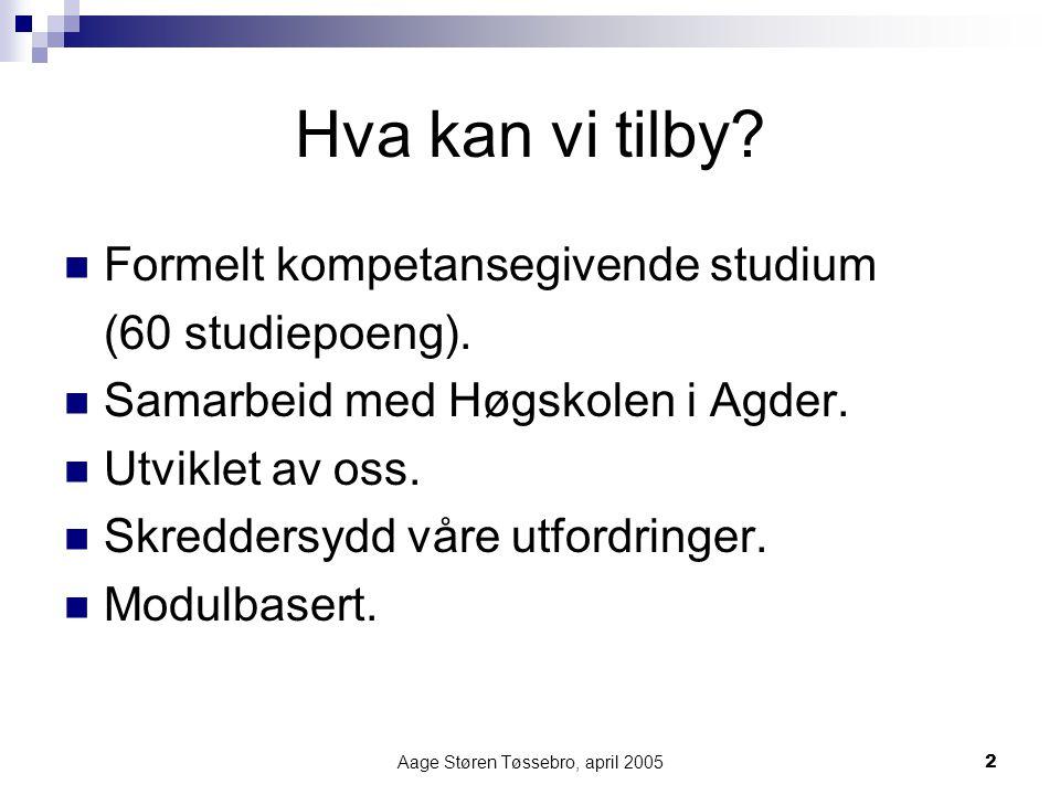 Aage Støren Tøssebro, april 20052 Hva kan vi tilby? Formelt kompetansegivende studium (60 studiepoeng). Samarbeid med Høgskolen i Agder. Utviklet av o