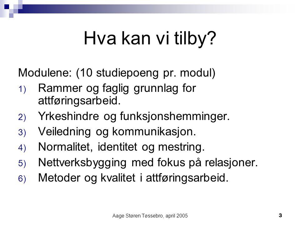 Aage Støren Tøssebro, april 20053 Hva kan vi tilby? Modulene: (10 studiepoeng pr. modul) 1) Rammer og faglig grunnlag for attføringsarbeid. 2) Yrkeshi