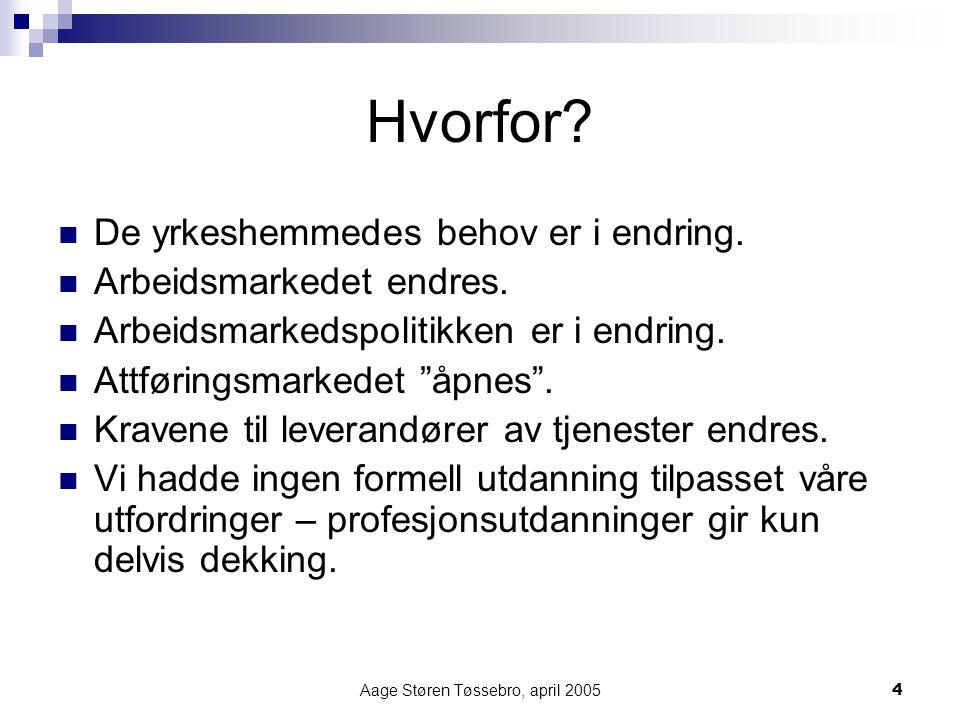 Aage Støren Tøssebro, april 20054 Hvorfor? De yrkeshemmedes behov er i endring. Arbeidsmarkedet endres. Arbeidsmarkedspolitikken er i endring. Attføri