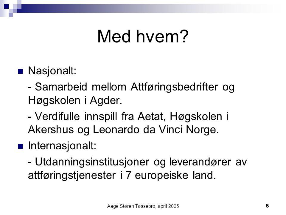 Aage Støren Tøssebro, april 20056 Pedagogiske utfordringer vi søker løst Å utvikle et partnerskap mellom studentenes arbeidsgiver og utdannings- institusjon slik at de sammen kan håndtere et etterspørselsdrevet utdanningsprogram.