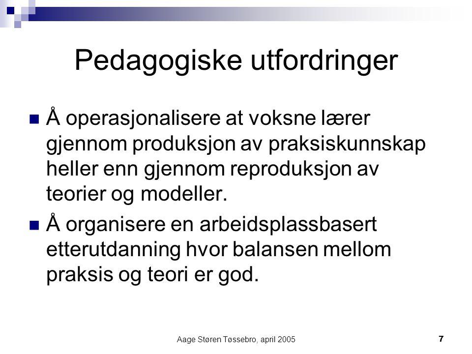 Aage Støren Tøssebro, april 20057 Pedagogiske utfordringer Å operasjonalisere at voksne lærer gjennom produksjon av praksiskunnskap heller enn gjennom