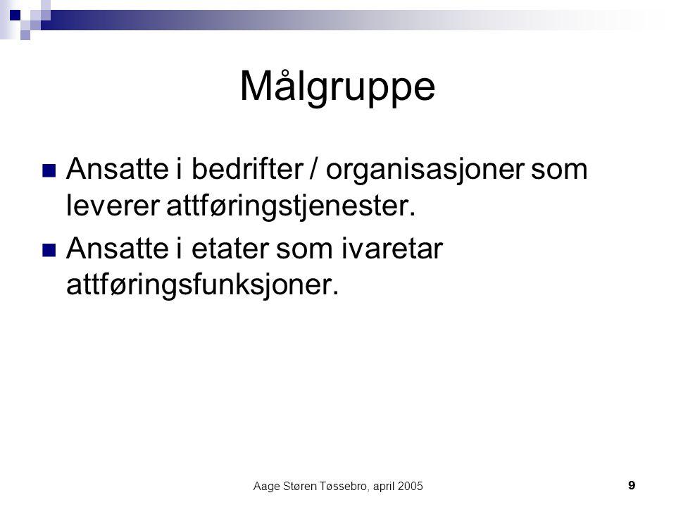 Aage Støren Tøssebro, april 20059 Målgruppe Ansatte i bedrifter / organisasjoner som leverer attføringstjenester. Ansatte i etater som ivaretar attfør