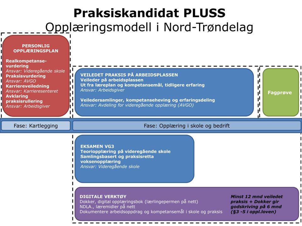 Praksiskandidat PLUSS Opplæringsmodell i Nord-Trøndelag DIGITALE VERKTØY Minst 12 mnd veiledet Dokker, digital opplæringsbok (lærlingepermen på nett)