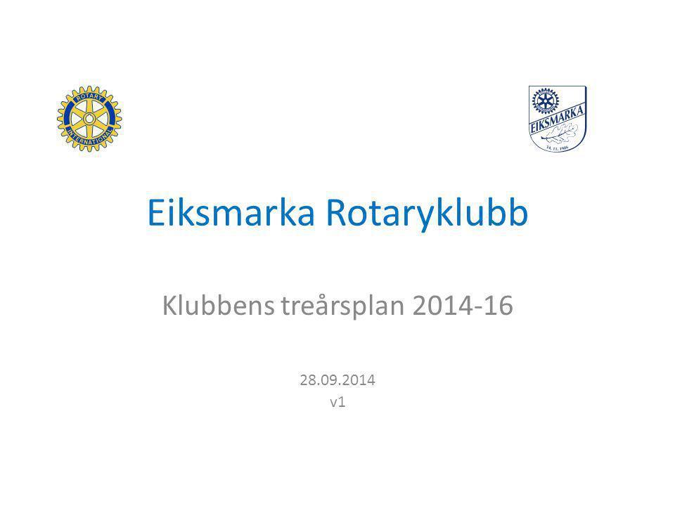 Eiksmarka Rotaryklubb Klubbens treårsplan 2014-16 28.09.2014 v1