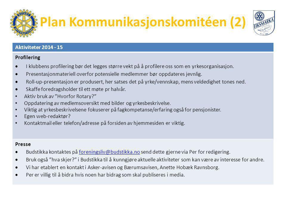 Plan Kommunikasjonskomitéen (2) Aktiviteter 2014 - 15 Profilering  I klubbens profilering bør det legges større vekt på å profilere oss som en yrkeso