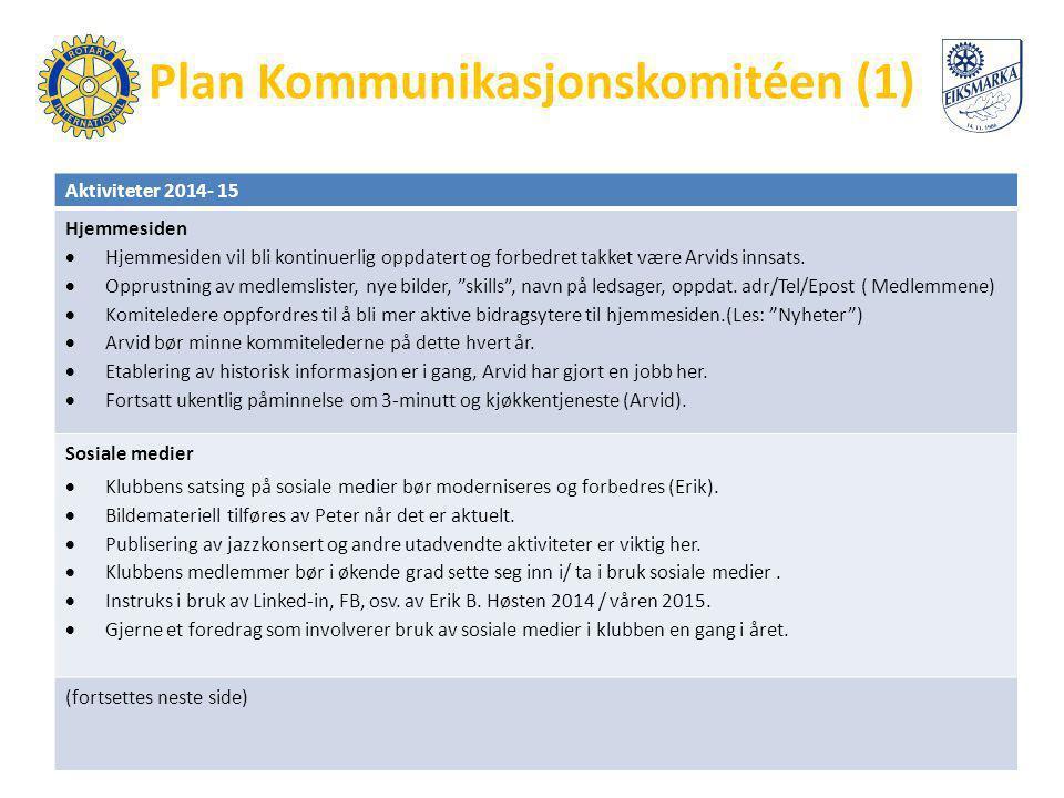 Plan Kommunikasjonskomitéen (1) Aktiviteter 2014- 15 Hjemmesiden  Hjemmesiden vil bli kontinuerlig oppdatert og forbedret takket være Arvids innsats.