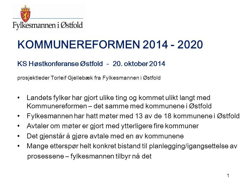 KOMMUNEREFORMEN 2014 - 2020 KS Høstkonferanse Østfold - 20. oktober 2014 prosjektleder Torleif Gjellebæk fra Fylkesmannen i Østfold Landets fylker har