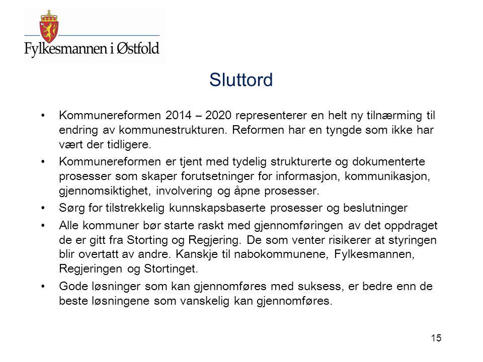 Sluttord Kommunereformen 2014 – 2020 representerer en helt ny tilnærming til endring av kommunestrukturen. Reformen har en tyngde som ikke har vært de