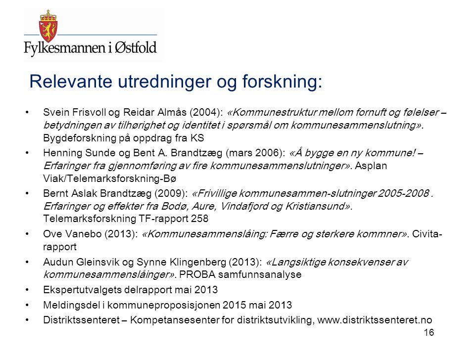 Relevante utredninger og forskning: Svein Frisvoll og Reidar Almås (2004): «Kommunestruktur mellom fornuft og følelser – betydningen av tilhørighet og identitet i spørsmål om kommunesammenslutning».