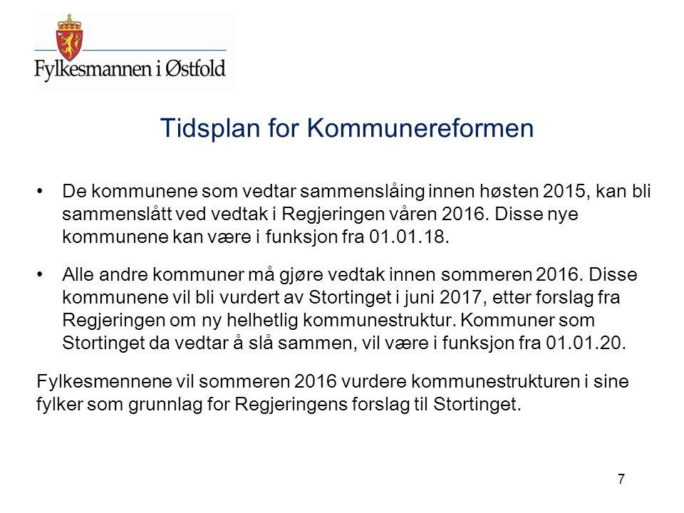 Tidsplan for Kommunereformen De kommunene som vedtar sammenslåing innen høsten 2015, kan bli sammenslått ved vedtak i Regjeringen våren 2016. Disse ny