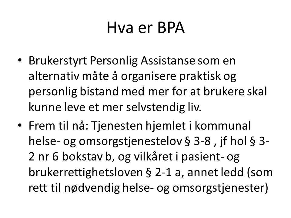 Hva er BPA Brukerstyrt Personlig Assistanse som en alternativ måte å organisere praktisk og personlig bistand med mer for at brukere skal kunne leve e