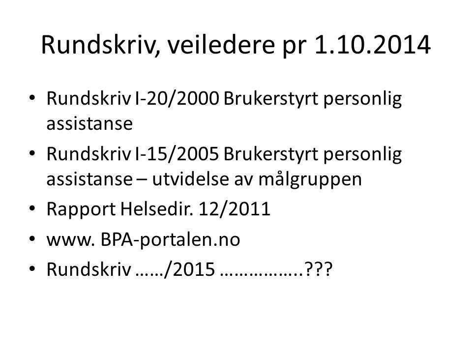 Rundskriv, veiledere pr 1.10.2014 Rundskriv I-20/2000 Brukerstyrt personlig assistanse Rundskriv I-15/2005 Brukerstyrt personlig assistanse – utvidels