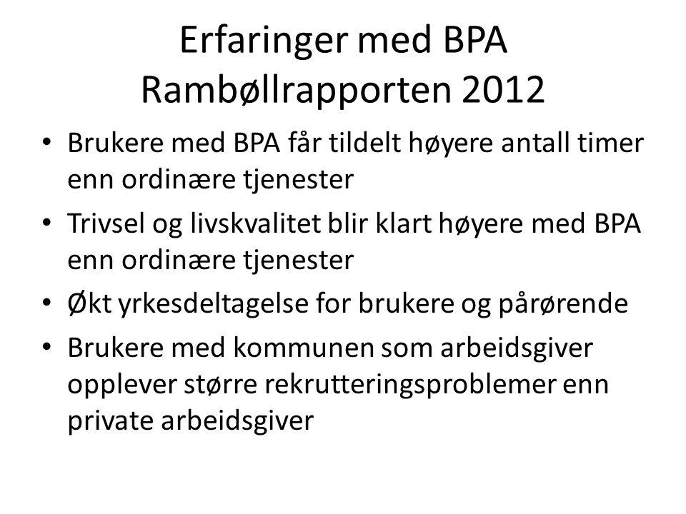 Erfaringer med BPA Rambøllrapporten 2012 Brukere med BPA får tildelt høyere antall timer enn ordinære tjenester Trivsel og livskvalitet blir klart høy