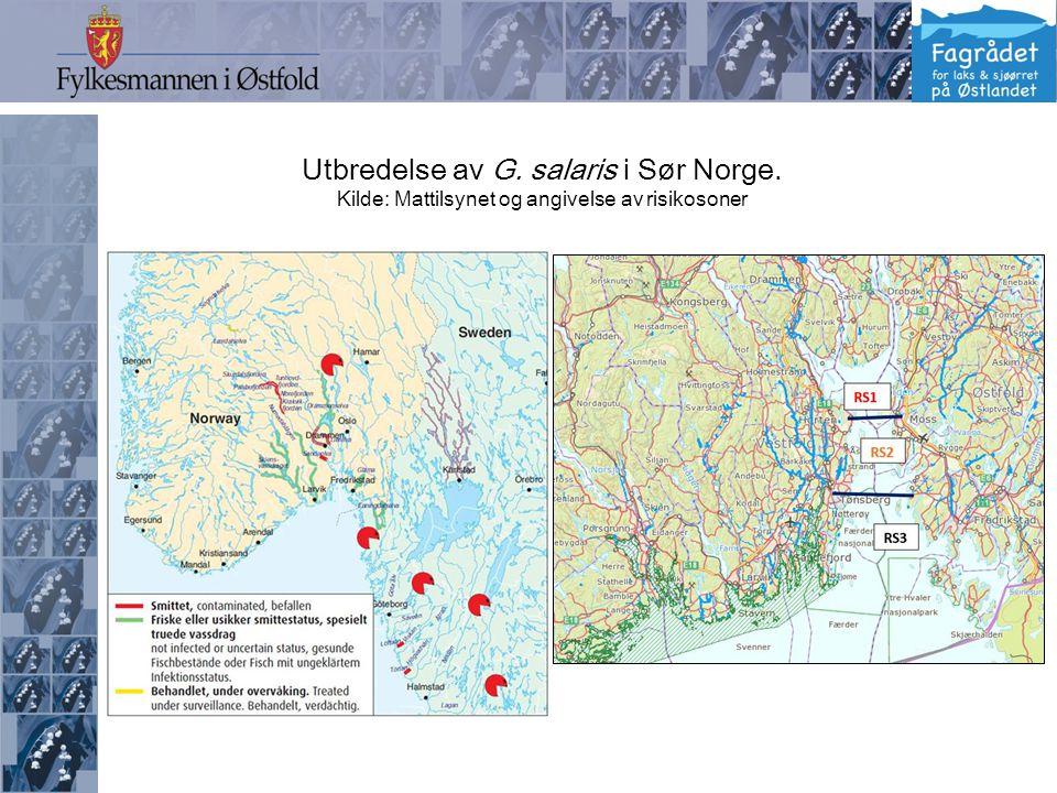 Utbredelse av G. salaris i Sør Norge. Kilde: Mattilsynet og angivelse av risikosoner
