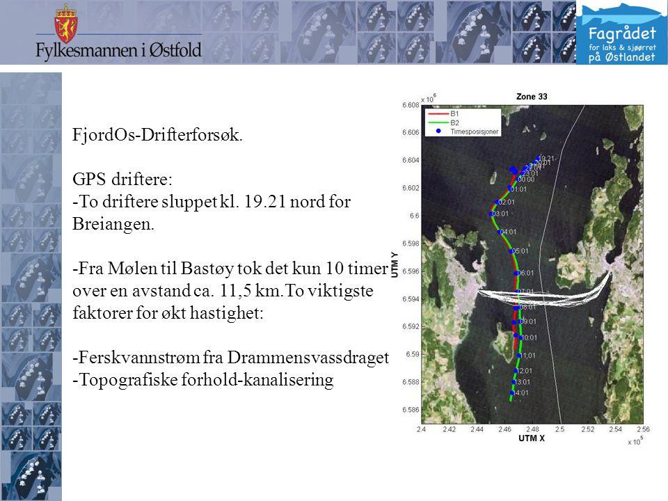 FjordOs-Drifterforsøk. GPS driftere: -To driftere sluppet kl.