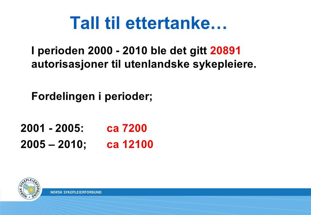 Tall til ettertanke… I perioden 2000 - 2010 ble det gitt 20891 autorisasjoner til utenlandske sykepleiere. Fordelingen i perioder; 2001 - 2005:ca 7200