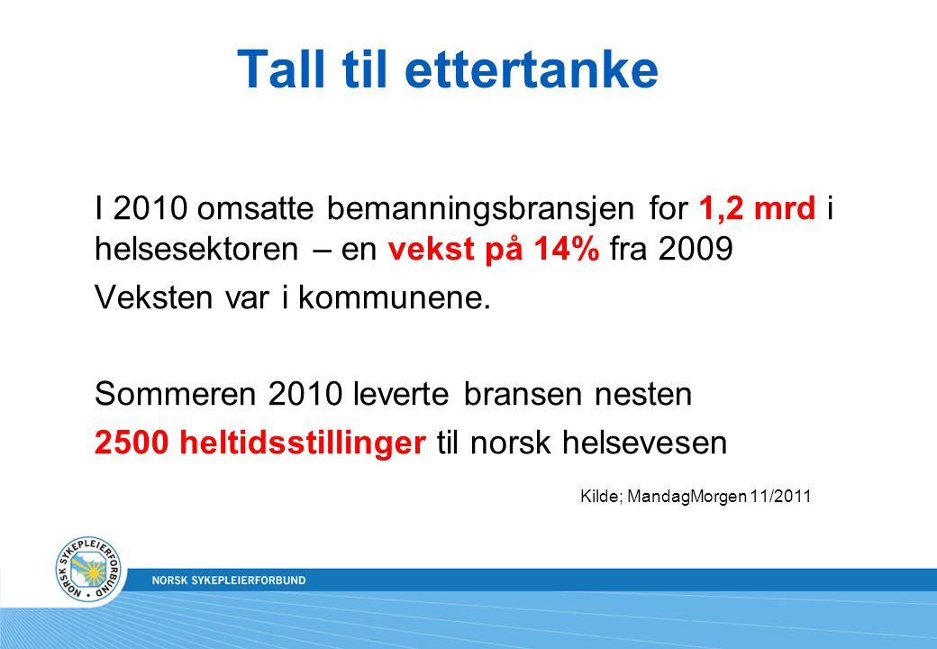 Tall til ettertanke I 2010 omsatte bemanningsbransjen for 1,2 mrd i helsesektoren – en vekst på 14% fra 2009 Veksten var i kommunene. Sommeren 2010 le