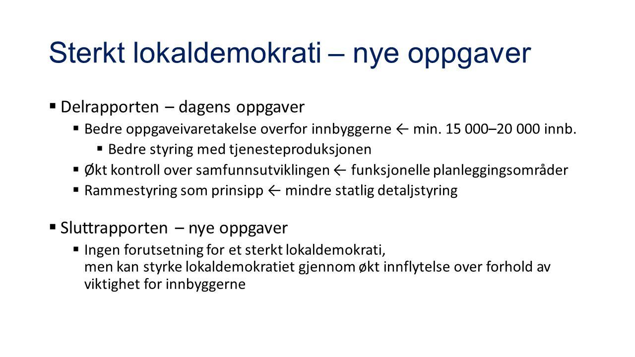 Sterkt lokaldemokrati – nye oppgaver  Delrapporten – dagens oppgaver  Bedre oppgaveivaretakelse overfor innbyggerne ← min.