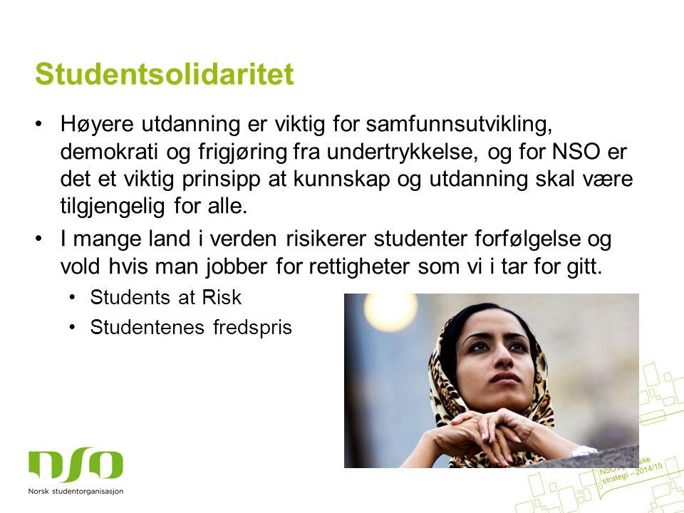 Studentsolidaritet Høyere utdanning er viktig for samfunnsutvikling, demokrati og frigjøring fra undertrykkelse, og for NSO er det et viktig prinsipp at kunnskap og utdanning skal være tilgjengelig for alle.