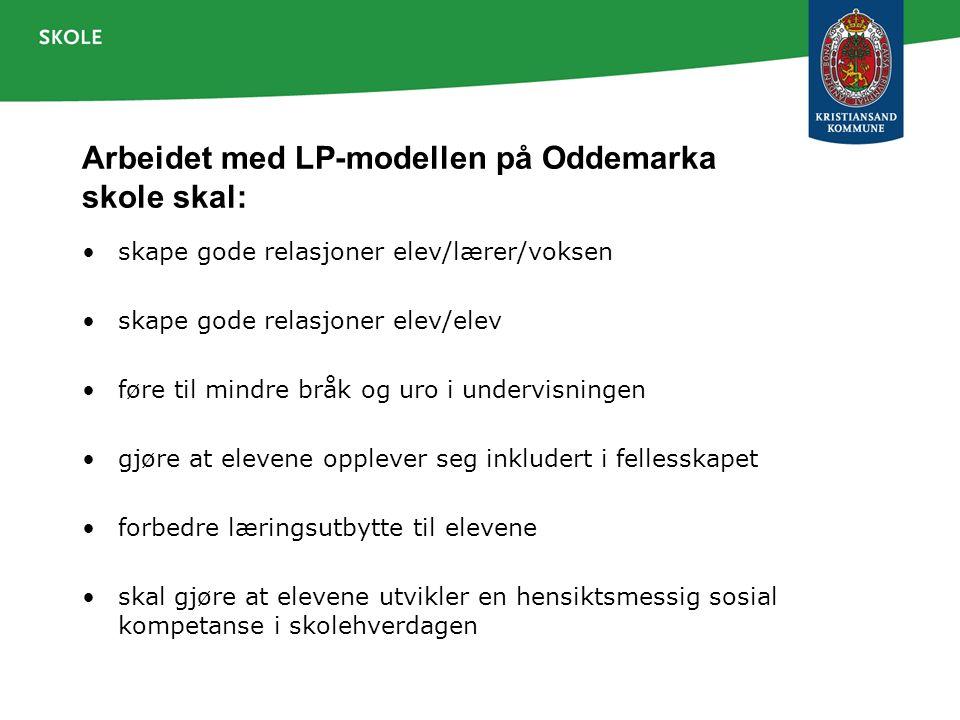 Arbeidet med LP-modellen på Oddemarka skole skal: skape gode relasjoner elev/lærer/voksen skape gode relasjoner elev/elev føre til mindre bråk og uro