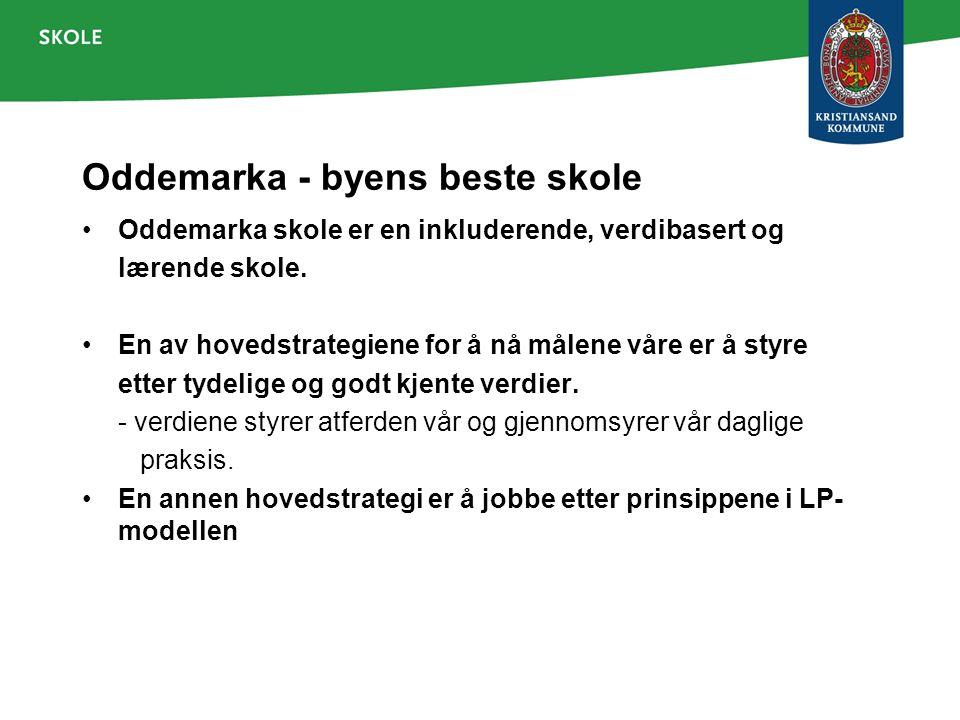 Oddemarka - byens beste skole Oddemarka skole er en inkluderende, verdibasert og lærende skole. En av hovedstrategiene for å nå målene våre er å styre