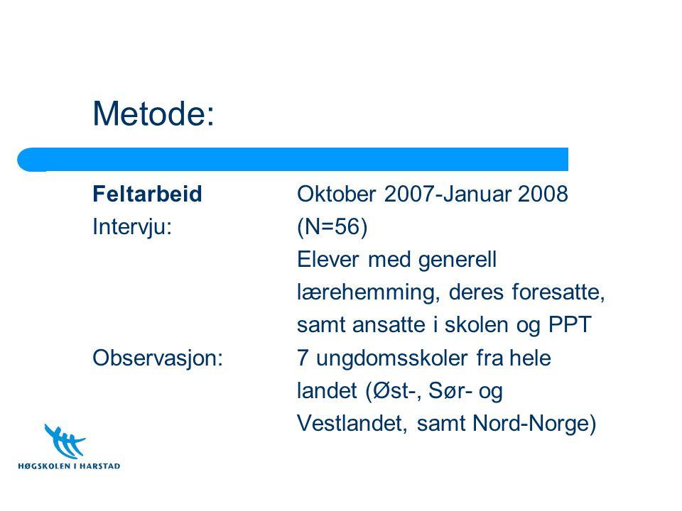 Metode: FeltarbeidOktober 2007-Januar 2008 Intervju: (N=56) Elever med generell lærehemming, deres foresatte, samt ansatte i skolen og PPT Observasjon