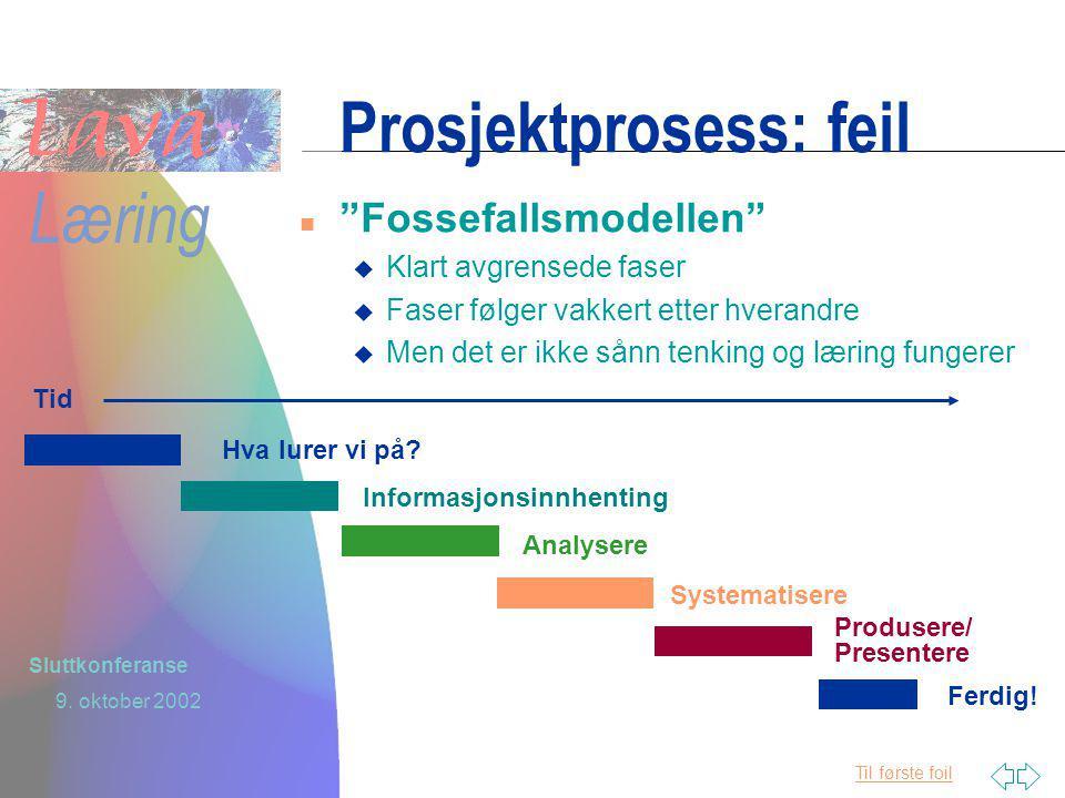 Til første foil Læring 9. oktober 2002 Sluttkonferanse