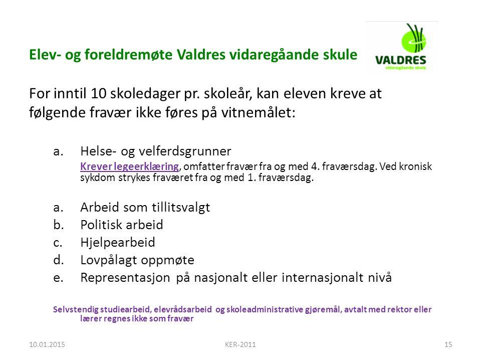 Elev- og foreldremøte Valdres vidaregåande skule For inntil 10 skoledager pr.