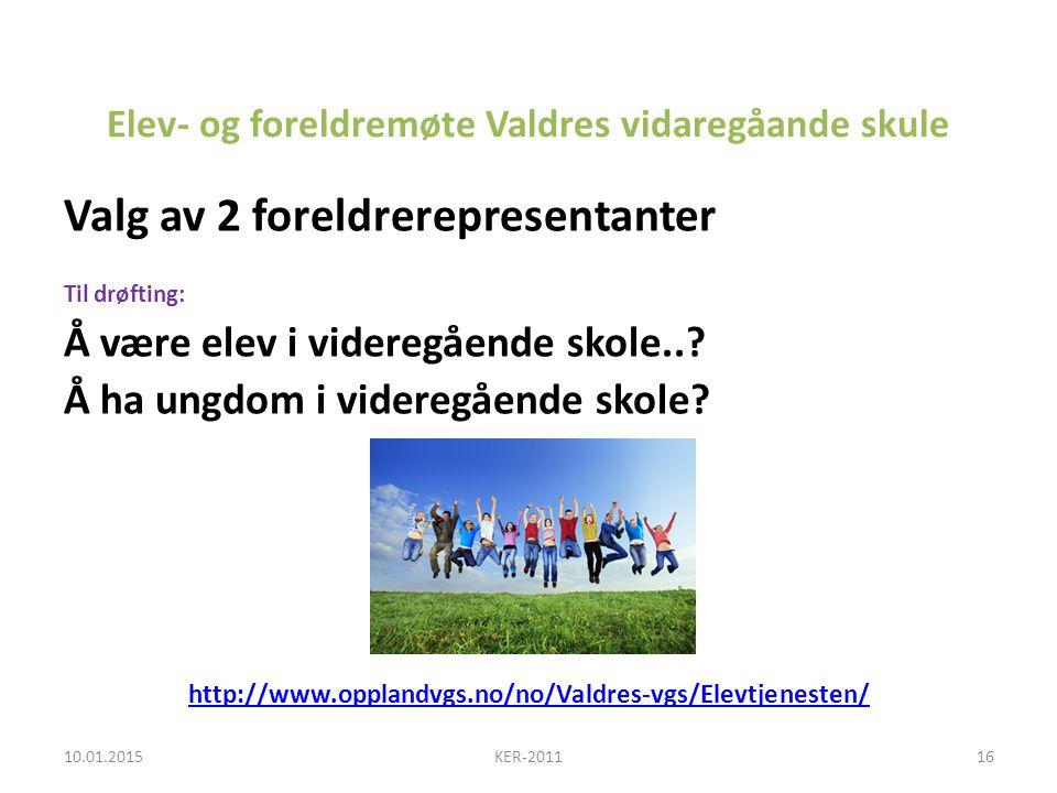 Elev- og foreldremøte Valdres vidaregåande skule Valg av 2 foreldrerepresentanter Til drøfting: Å være elev i videregående skole...
