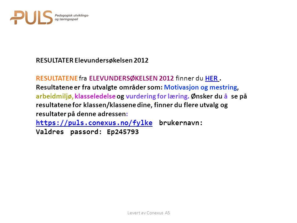 Levert av Conexus AS RESULTATER Elevundersøkelsen 2012 RESULTATENE fra ELEVUNDERSØKELSEN 2012 finner du HER.