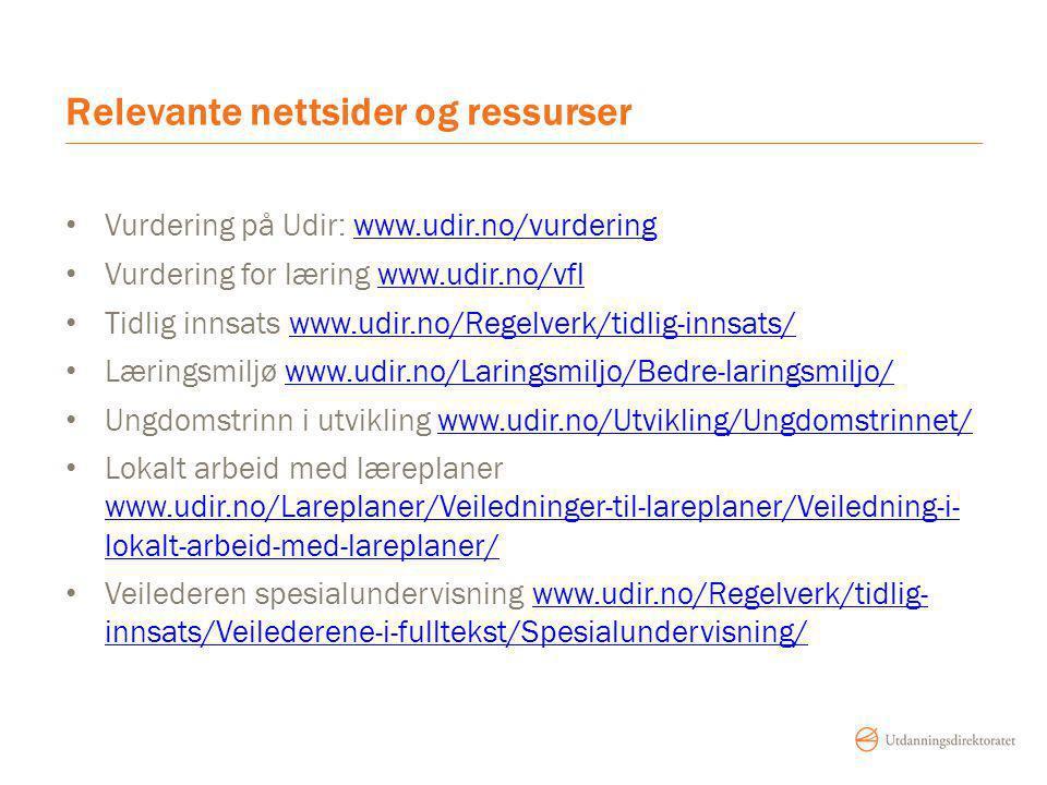 Relevante nettsider og ressurser Vurdering på Udir: www.udir.no/vurderingwww.udir.no/vurdering Vurdering for læring www.udir.no/vflwww.udir.no/vfl Tidlig innsats www.udir.no/Regelverk/tidlig-innsats/www.udir.no/Regelverk/tidlig-innsats/ Læringsmiljø www.udir.no/Laringsmiljo/Bedre-laringsmiljo/www.udir.no/Laringsmiljo/Bedre-laringsmiljo/ Ungdomstrinn i utvikling www.udir.no/Utvikling/Ungdomstrinnet/www.udir.no/Utvikling/Ungdomstrinnet/ Lokalt arbeid med læreplaner www.udir.no/Lareplaner/Veiledninger-til-lareplaner/Veiledning-i- lokalt-arbeid-med-lareplaner/ www.udir.no/Lareplaner/Veiledninger-til-lareplaner/Veiledning-i- lokalt-arbeid-med-lareplaner/ Veilederen spesialundervisning www.udir.no/Regelverk/tidlig- innsats/Veilederene-i-fulltekst/Spesialundervisning/www.udir.no/Regelverk/tidlig- innsats/Veilederene-i-fulltekst/Spesialundervisning/