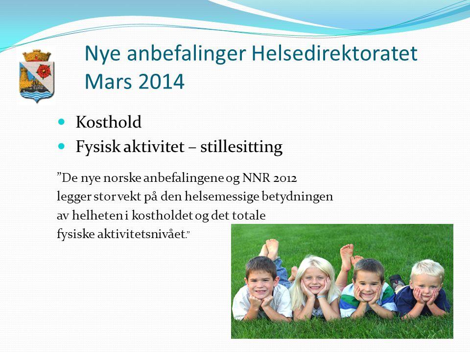 Nye anbefalinger Helsedirektoratet Mars 2014 Kosthold Fysisk aktivitet – stillesitting De nye norske anbefalingene og NNR 2012 legger stor vekt på den helsemessige betydningen av helheten i kostholdet og det totale fysiske aktivitetsnivået.