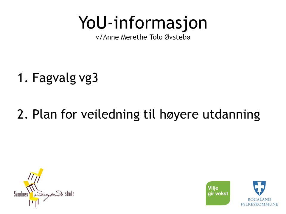 YoU-informasjon v/Anne Merethe Tolo Øvstebø 1. Fagvalg vg3 2. Plan for veiledning til høyere utdanning