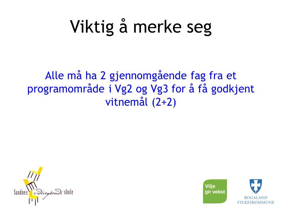 Viktig å merke seg Alle må ha 2 gjennomgående fag fra et programområde i Vg2 og Vg3 for å få godkjent vitnemål (2+2)