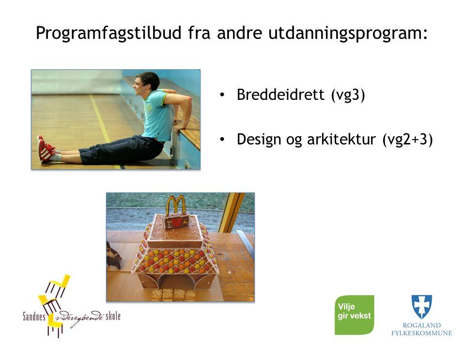 Programfagstilbud fra andre utdanningsprogram: Breddeidrett (vg3) Design og arkitektur (vg2+3)