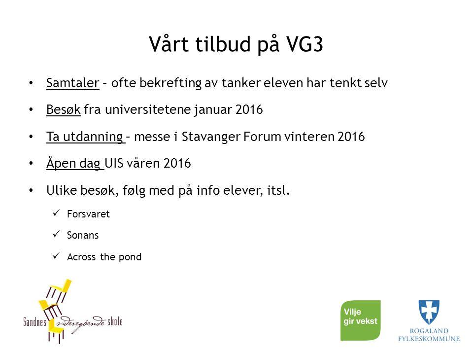 Vårt tilbud på VG3 Samtaler – ofte bekrefting av tanker eleven har tenkt selv Besøk fra universitetene januar 2016 Ta utdanning – messe i Stavanger Fo